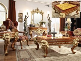 Traditional Coffee Table Set 3 PCS in Beige Wood Traditional Style Homey Design HD-8024