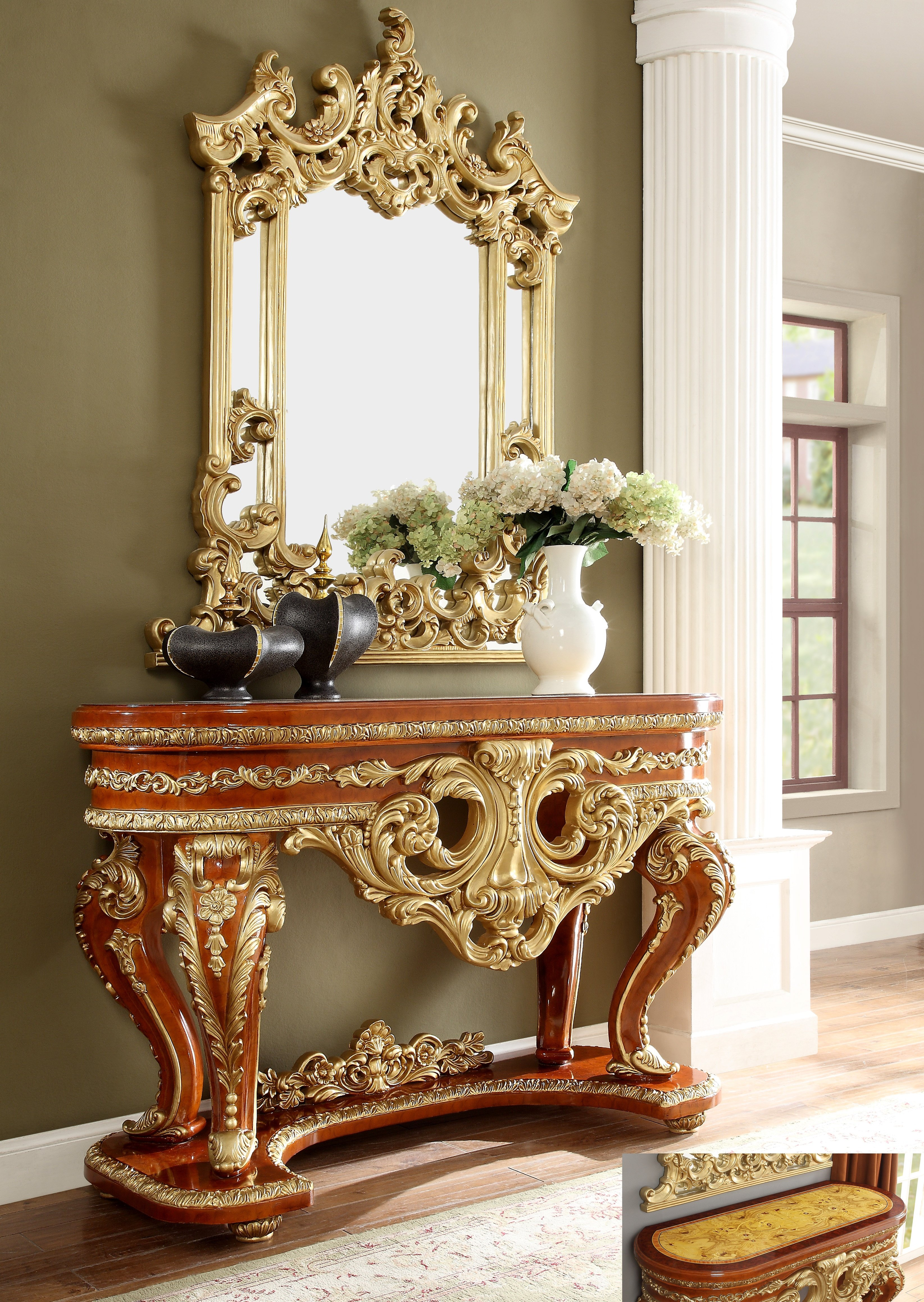 Traditional Console Table in Beige Wood Traditional Style Homey Design HD-8024