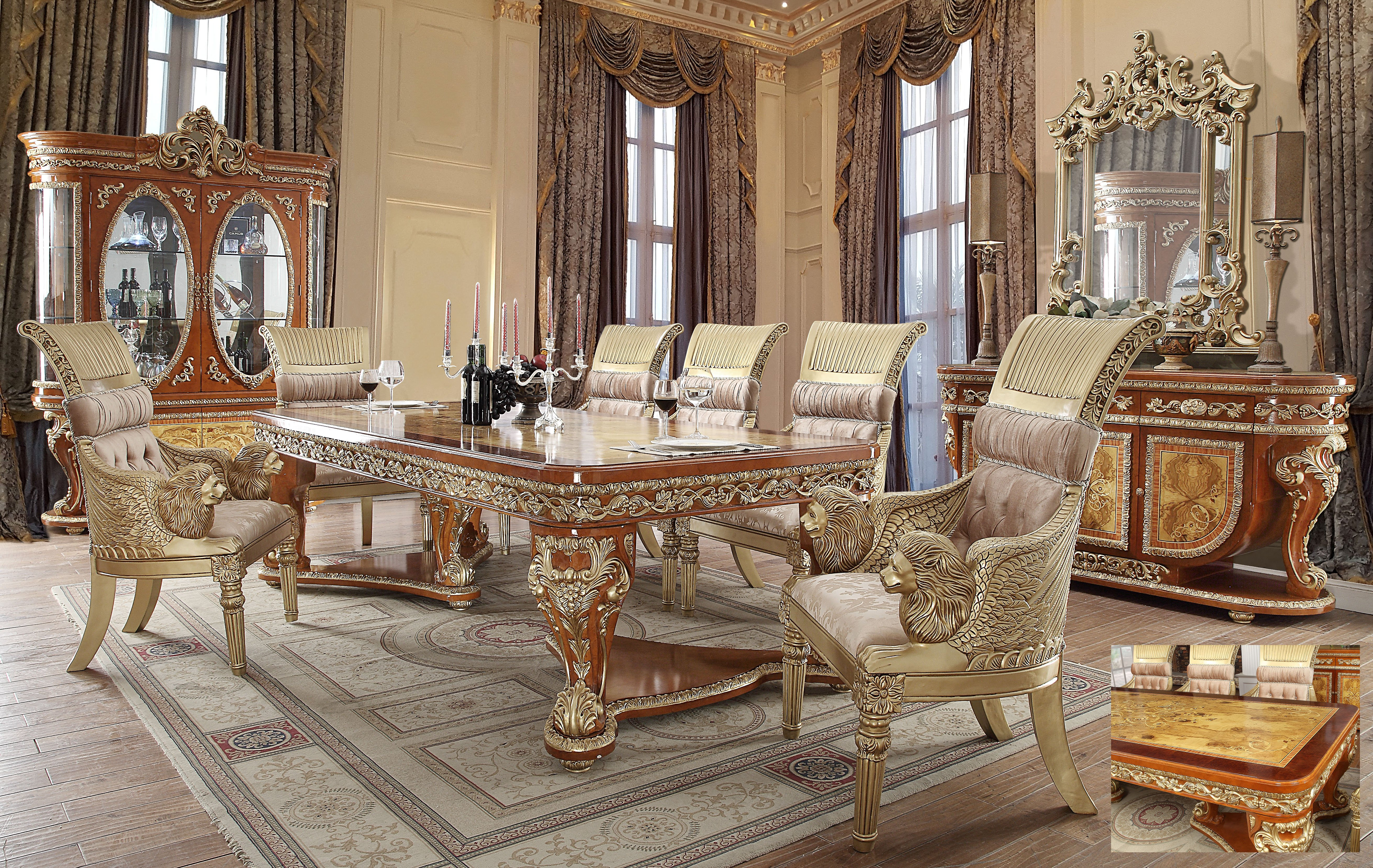 Traditional Dining Room Set 7 PCS in Beige Wood Traditional Style Homey Design HD-8024