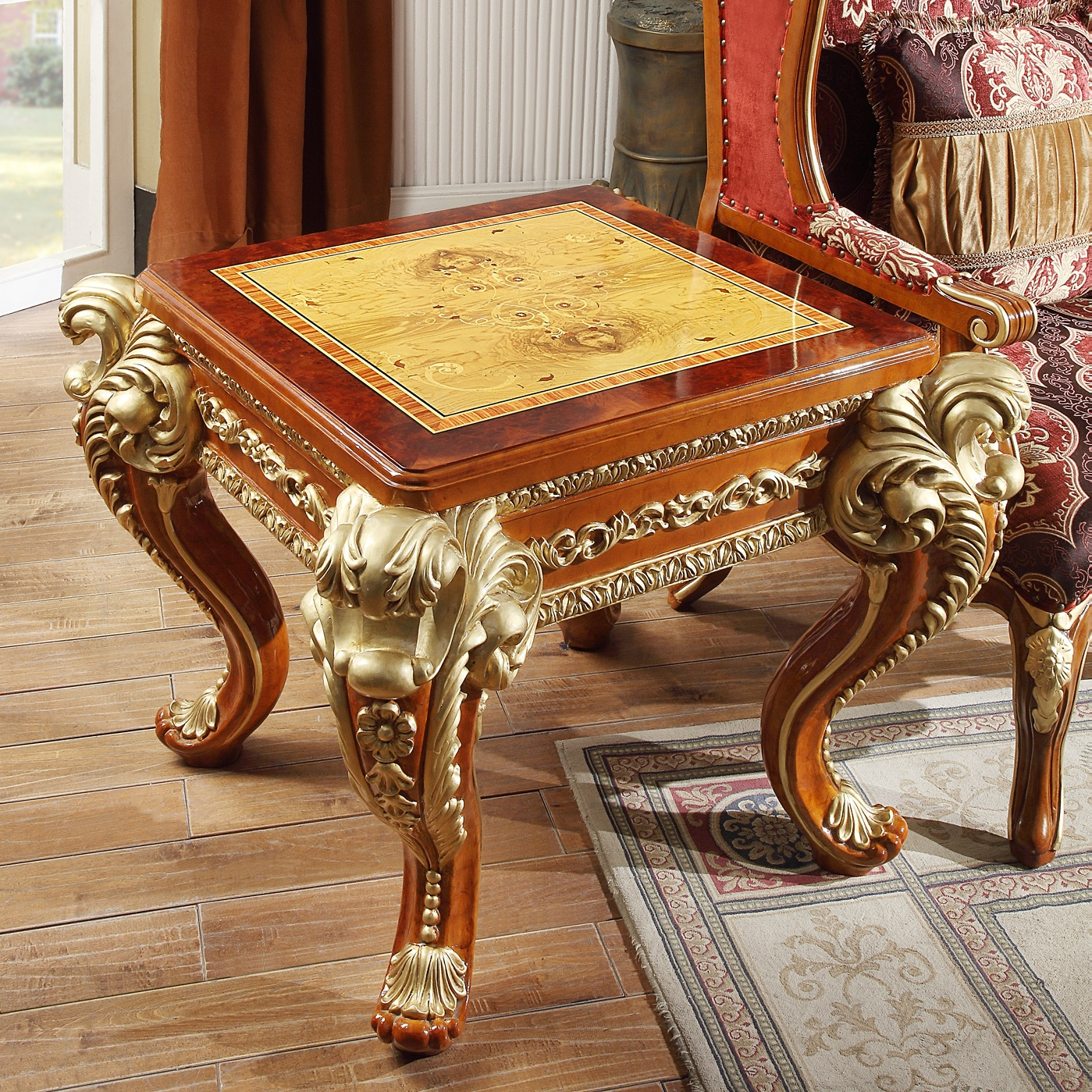 Traditional End Table in Beige Wood Traditional Style Homey Design HD-8024