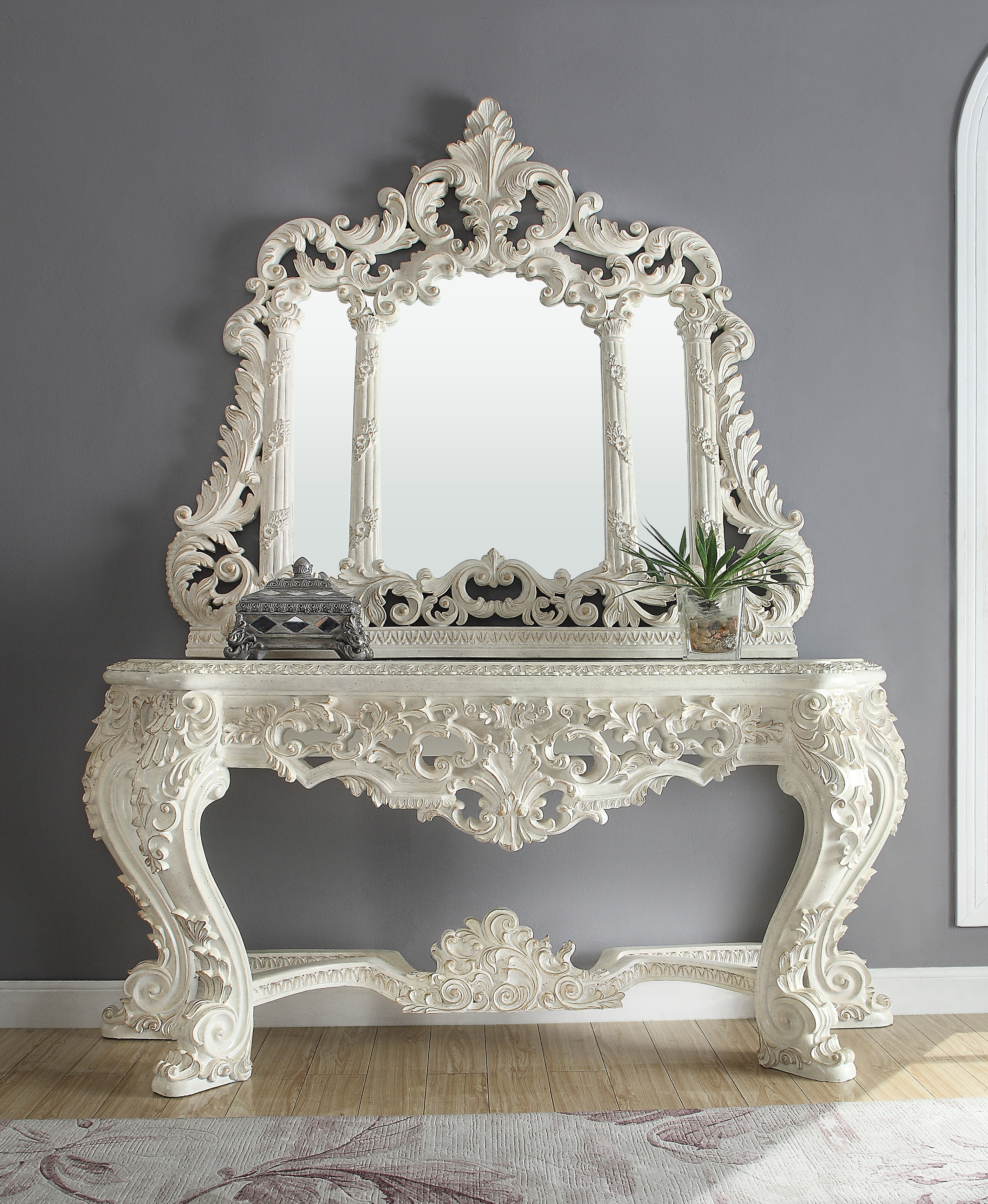 Traditional Console Table in White Wood Traditional Style Homey Design HD-8030