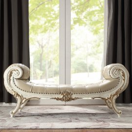 Traditional Bench in White Leather Traditional Style Homey Design HD-8030