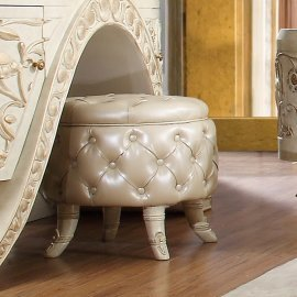 Tufted Leather Stool White HD-8030 Homey Design Traditional Classic