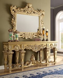 Traditional Console Table in Yellow Wood Traditional Style Homey Design HD-8086