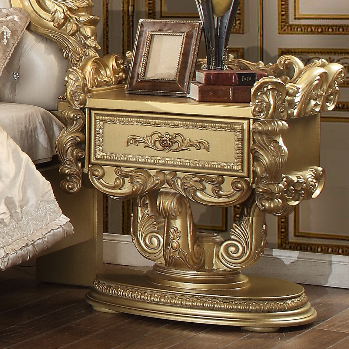 Traditional Nightstand in Yellow Wood Traditional Style Homey Design HD-8086