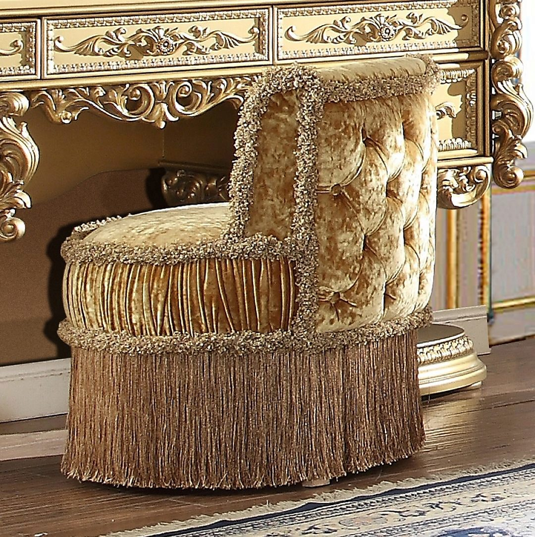Traditional Bench in Yellow Fabric Traditional Style Homey Design HD-8086