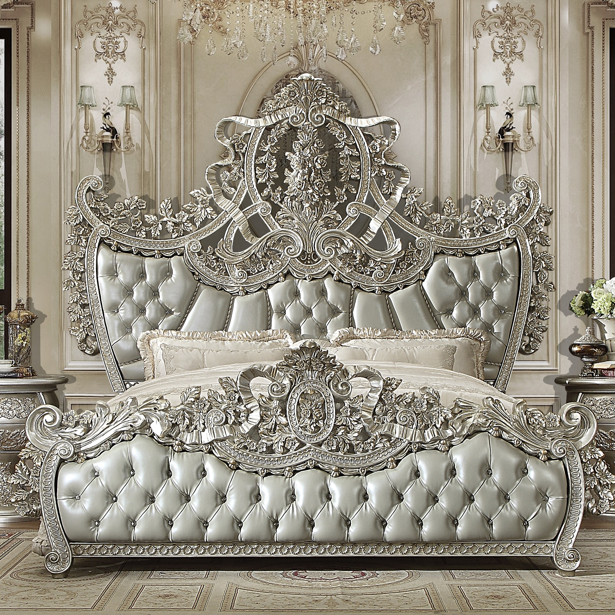 Traditional Eastern King Bed in Gray Leather Traditional Style Homey Design HD-8088