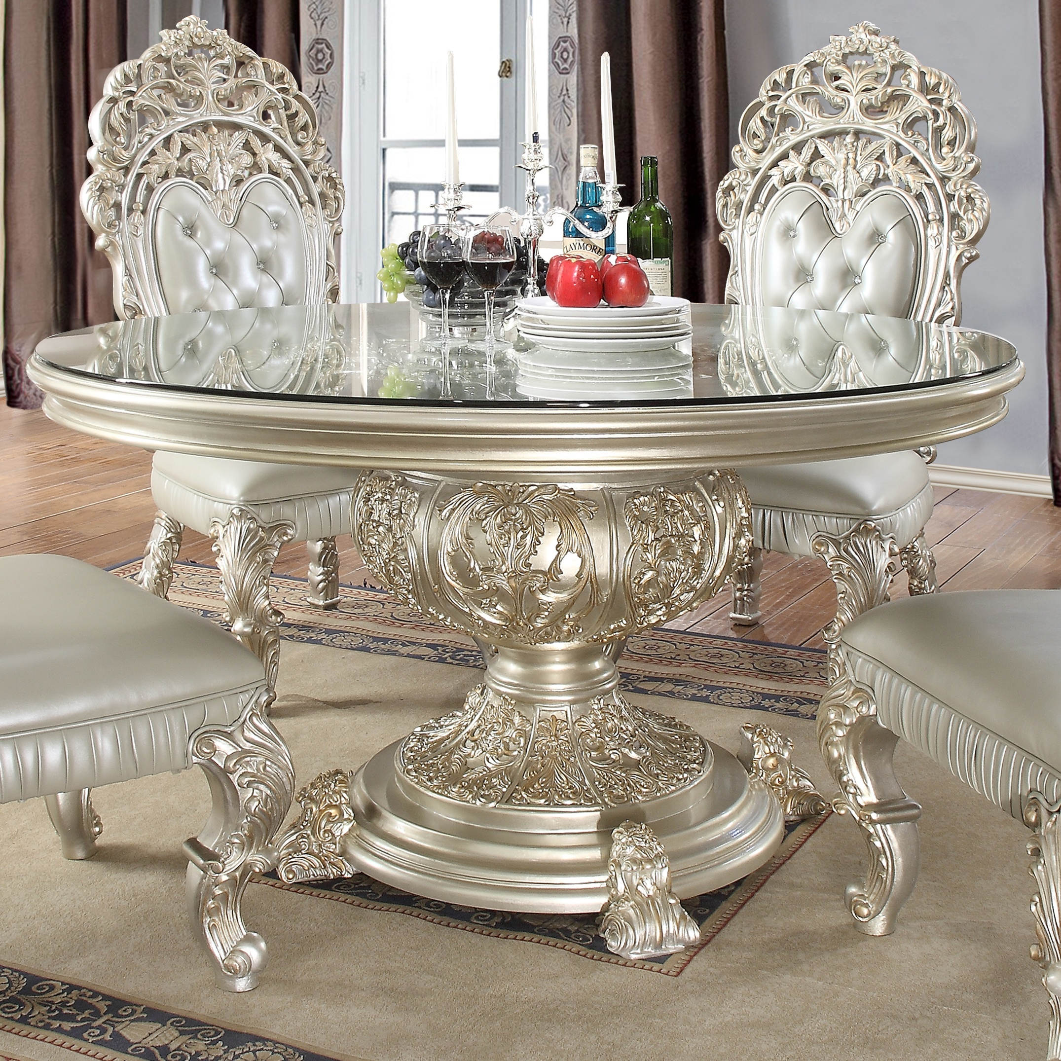 Traditional Round Table in Gray Wood Traditional Style Homey Design HD-8088