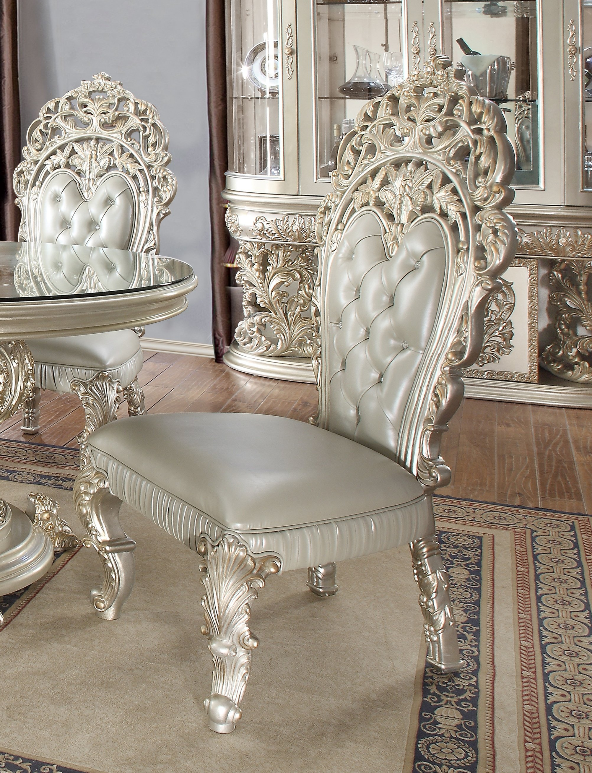 Traditional Dining Side Chair in Gray Leather Traditional Style Homey Design HD-8088