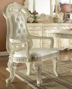 Traditional Dining Arm Chair in White Leather Traditional Style Homey Design HD-8089