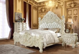 Traditional California King Bedroom Set 5 PCS in White Leather Traditional Style Homey Design HD-8089