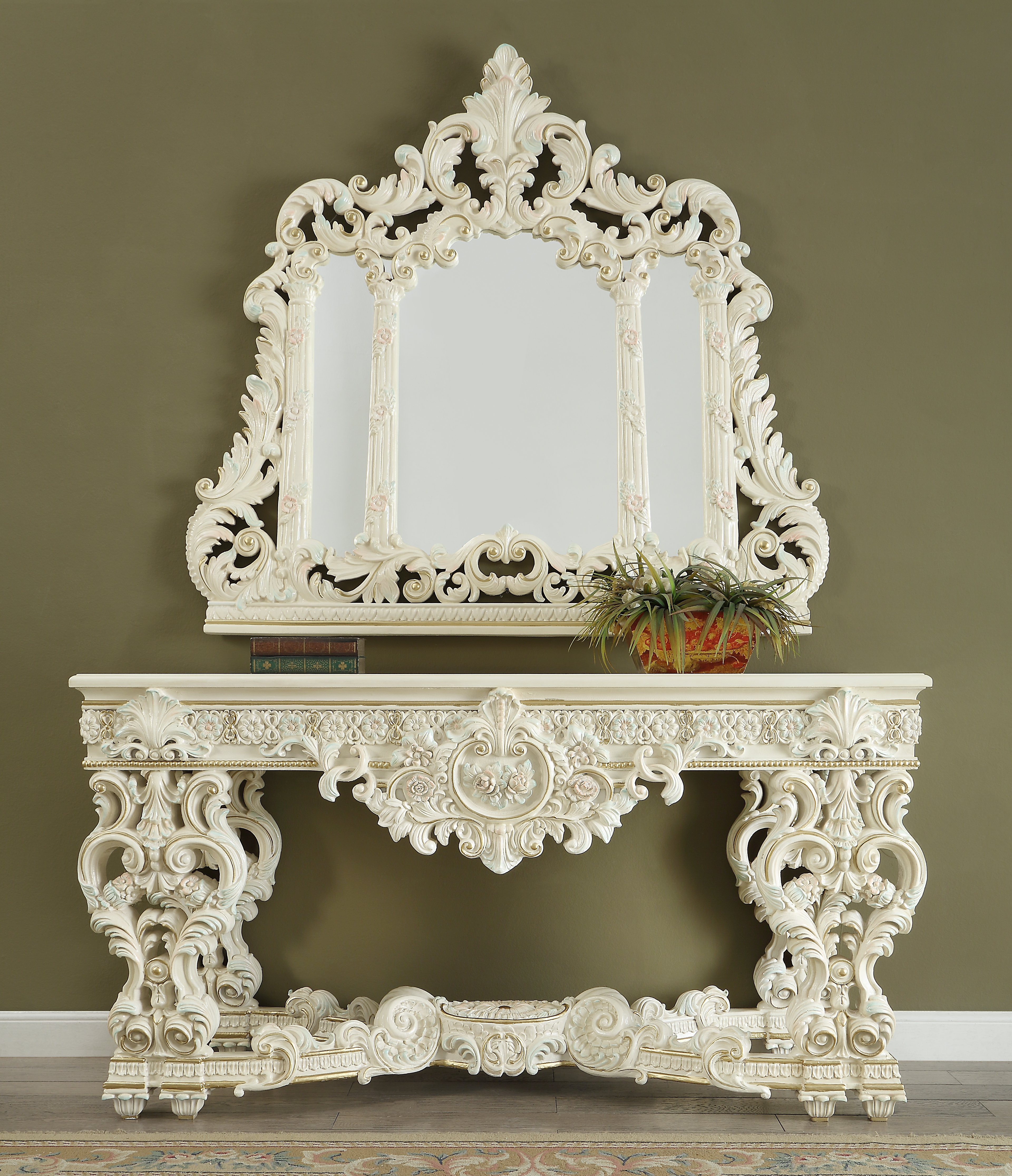 Traditional Console Table in White Wood Traditional Style Homey Design HD-8089
