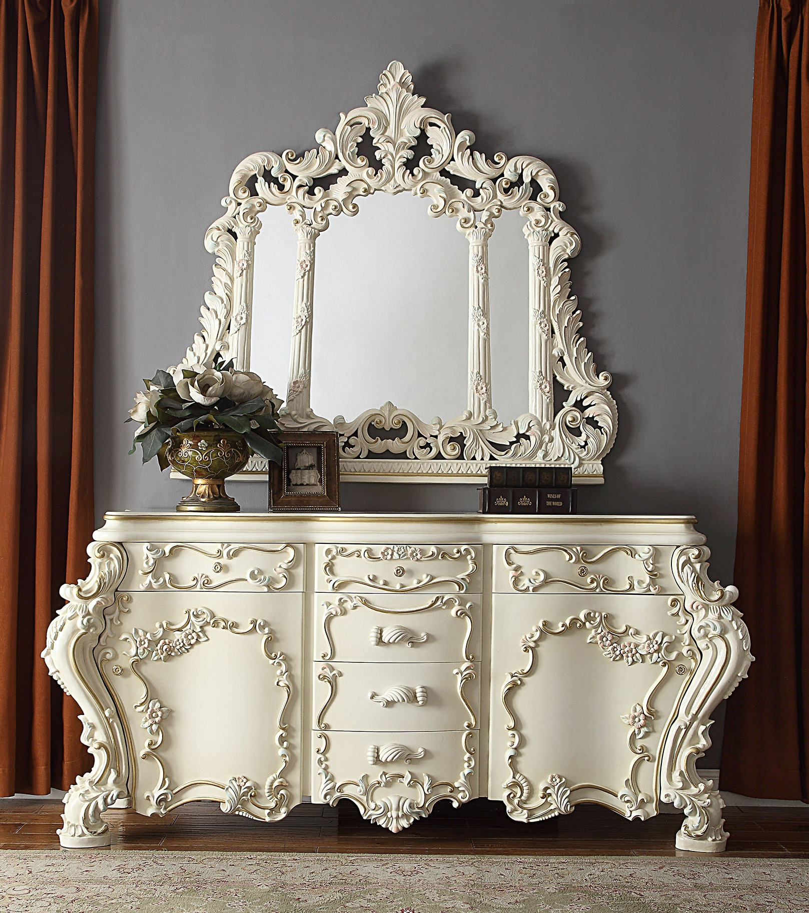 Traditional Dresser in White Wood Traditional Style Homey Design HD-8089