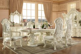 Traditional Dining Room Set 7 PCS in White Wood Traditional Style Homey Design HD-8089