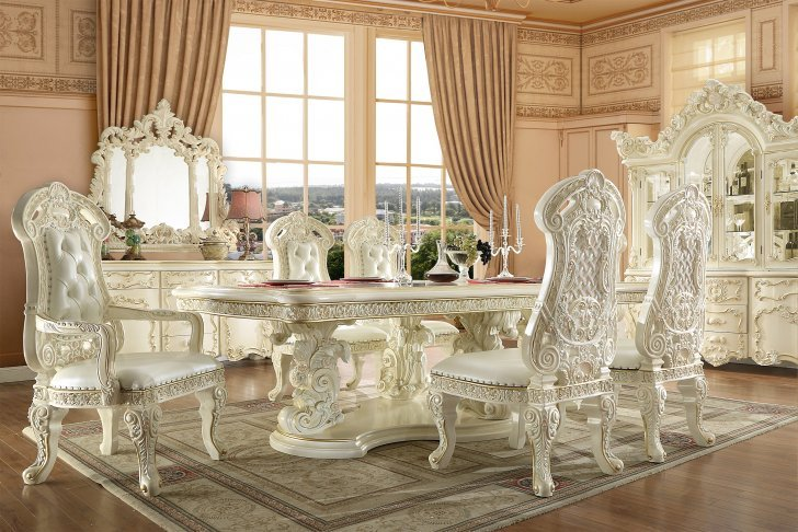 Traditional Dining Room Set 7 Pcs In, White Wood Dining Room Sets