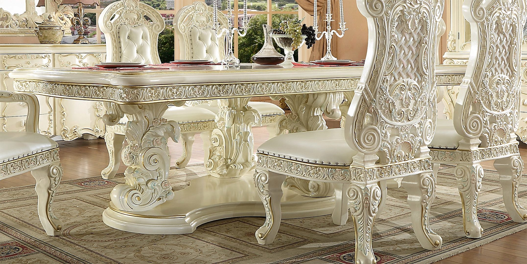 Traditional Rectangle Table in White Wood Traditional Style Homey Design HD-8089