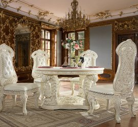 Traditional Dining Room Set 5 PCS in White Wood Traditional Style Homey Design HD-8089