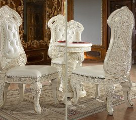 Traditional Dining Side Chair in White Leather Traditional Style Homey Design HD-8089
