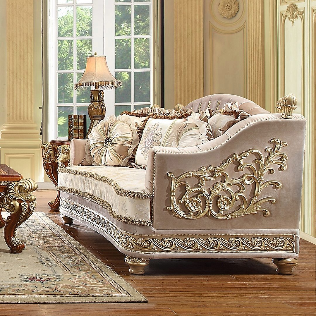 Traditional Loveseat in Yellow Fabric Traditional Style Homey Design HD-814