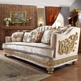 Traditional Sofa in Yellow Fabric Traditional Style Homey Design HD-814
