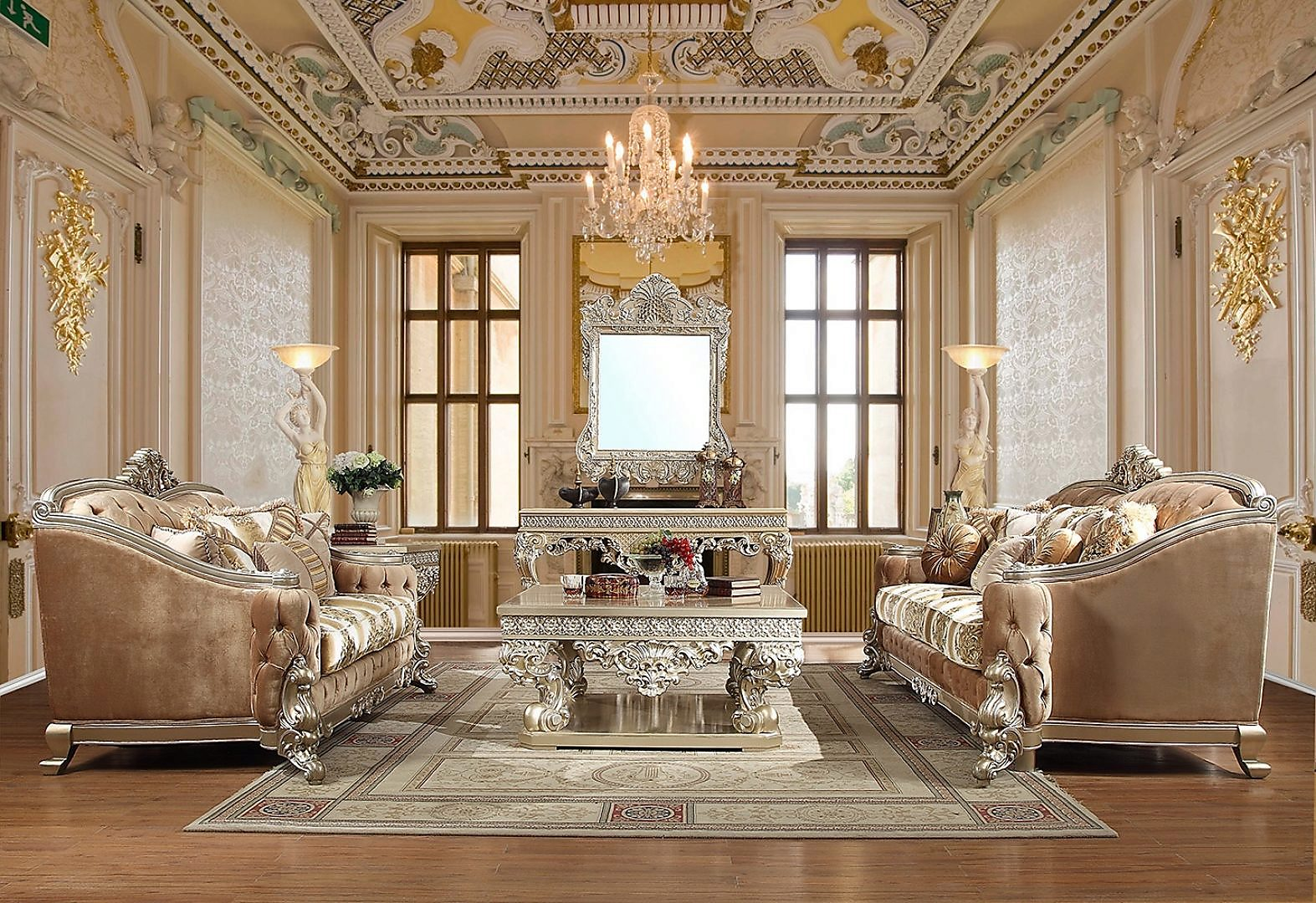 Traditional Living Room Set 3 PCS in Gray Fabric Traditional Style Homey Design HD-820