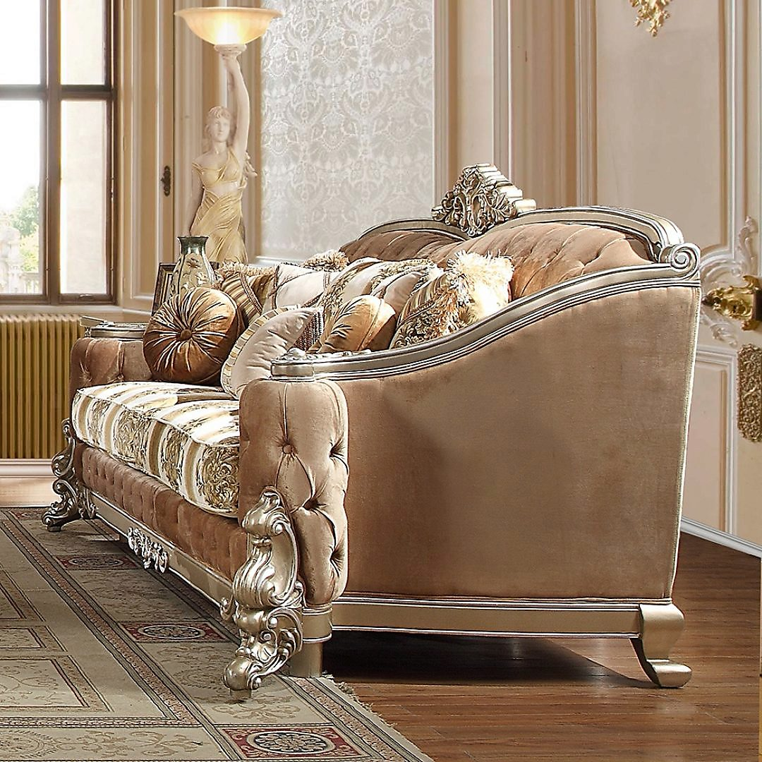 Traditional Sofa in Gray Fabric Traditional Style Homey Design HD-820