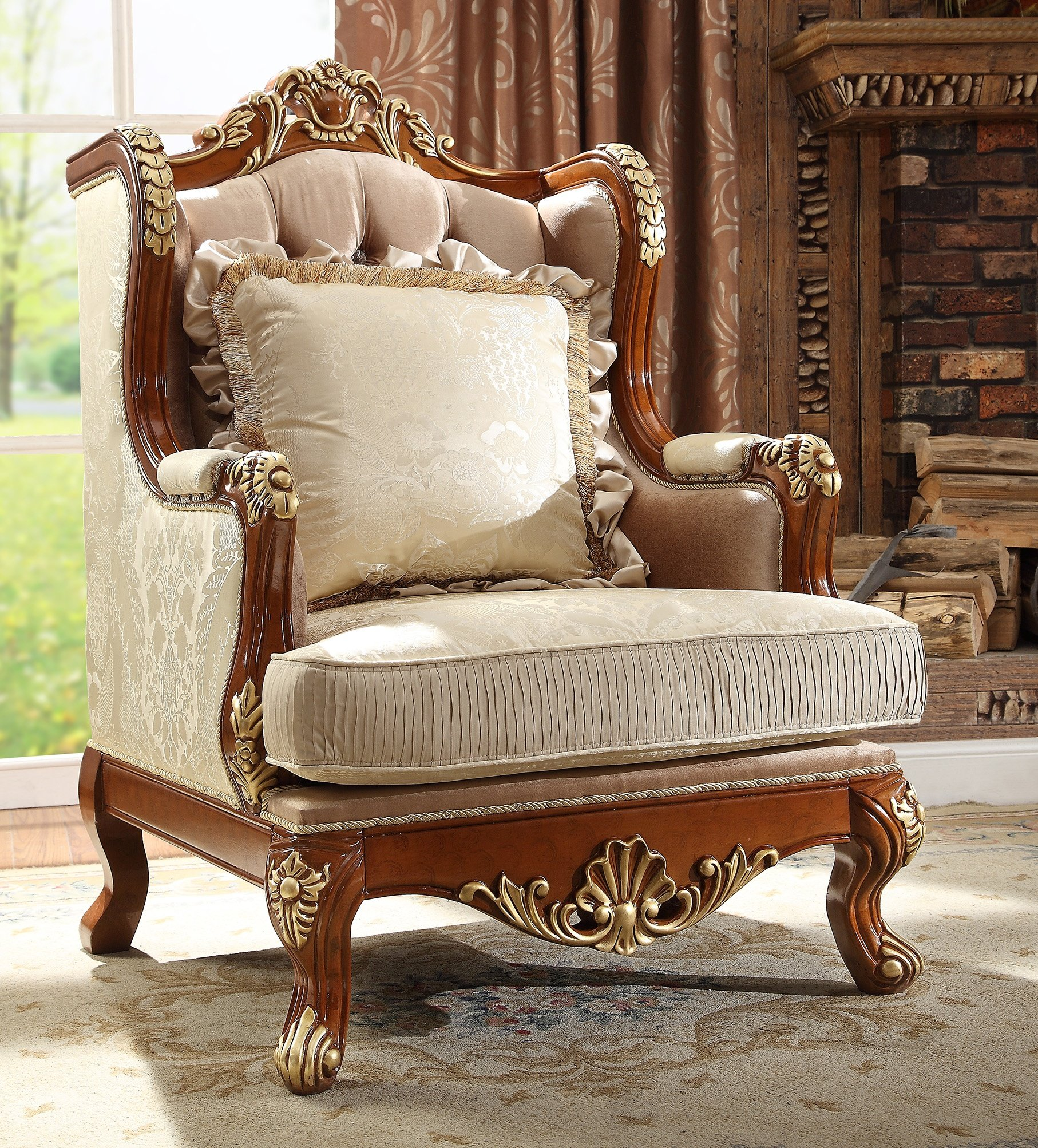 Traditional Chair in Beige Fabric Traditional Style Homey Design HD-821