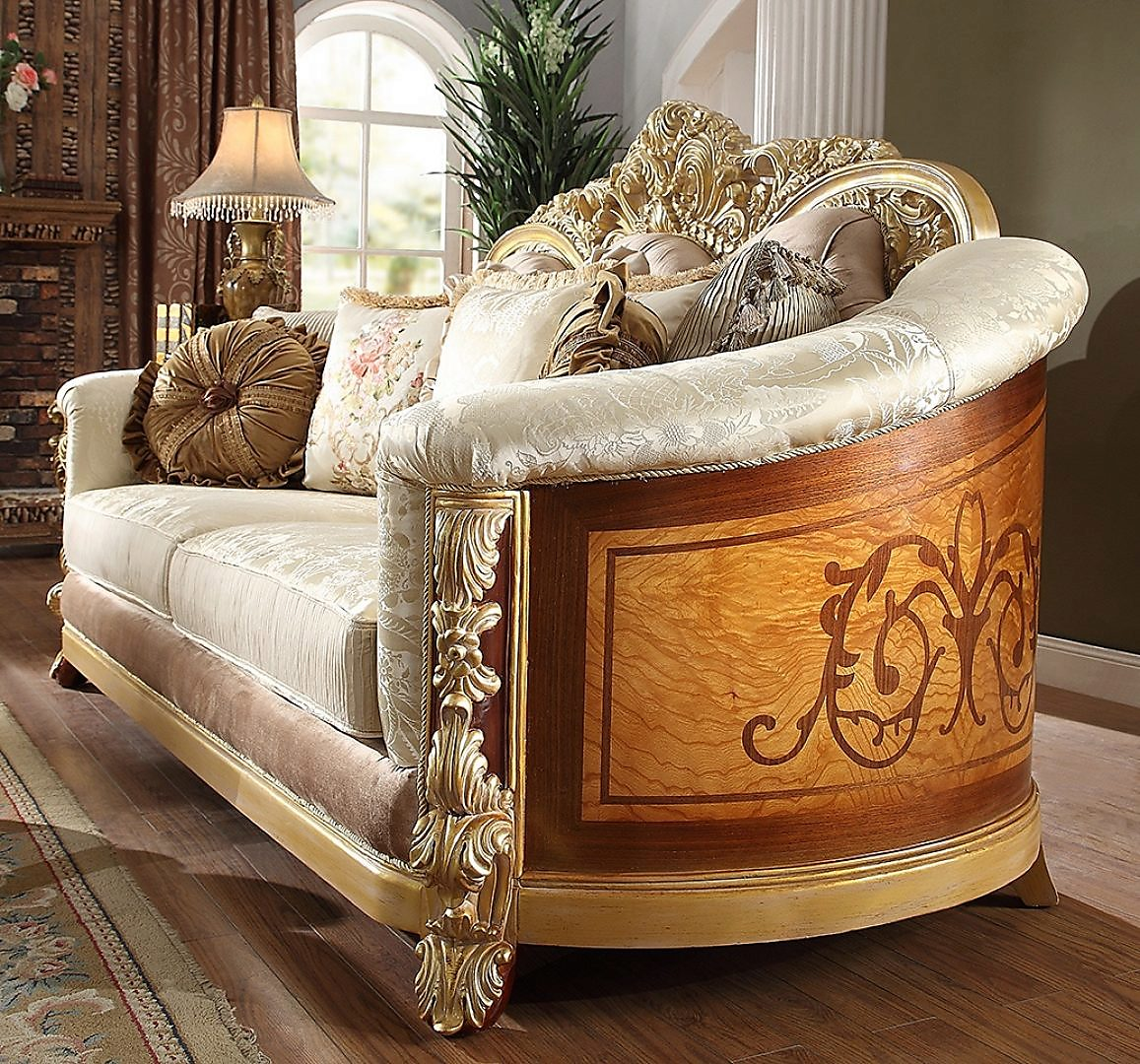 Traditional Loveseat in Beige Fabric Traditional Style Homey Design HD-821