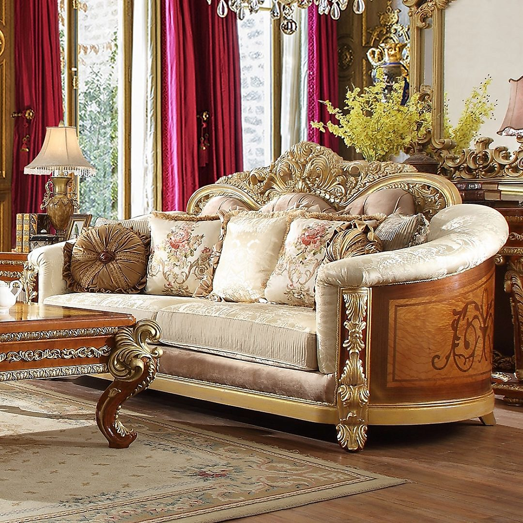 Traditional Sofa in Beige Fabric Traditional Style Homey Design HD-821