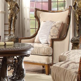 Traditional Chair in Beige Fabric Traditional Style Homey Design HD-823