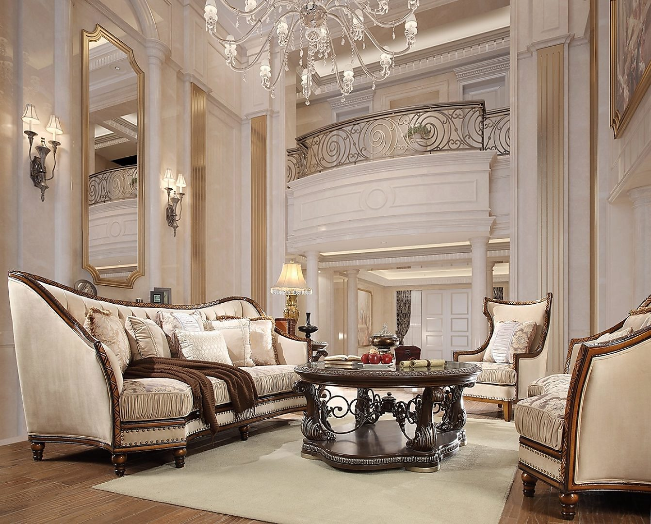 Traditional Living Room Set 3 PCS in Beige Fabric Traditional Style Homey Design HD-823