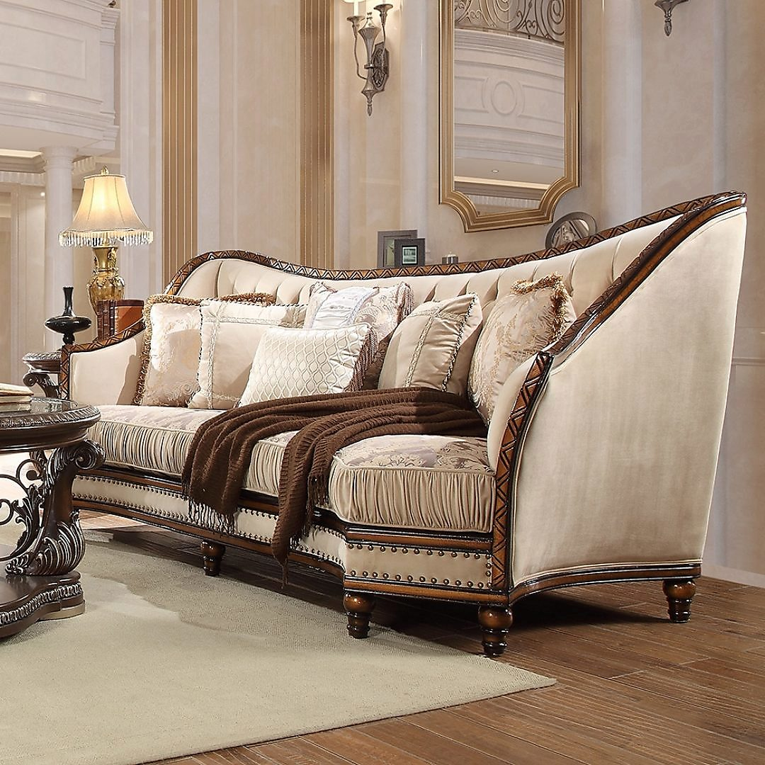 Traditional Sofa in Beige Fabric Traditional Style Homey Design HD-823