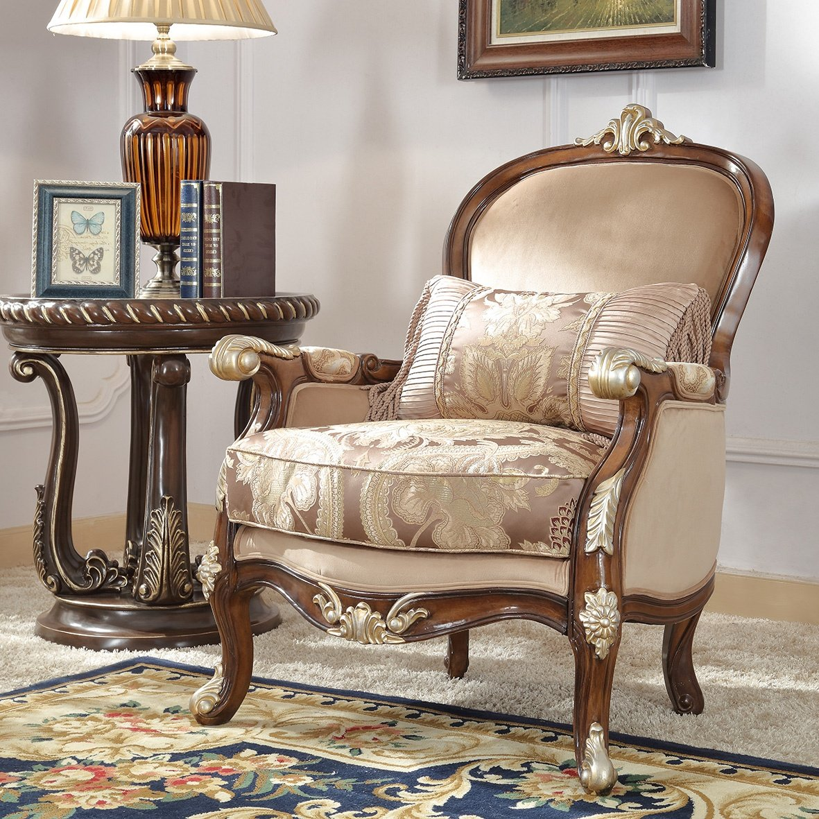 Traditional Chair in Brown Fabric Traditional Style Homey Design HD-8320