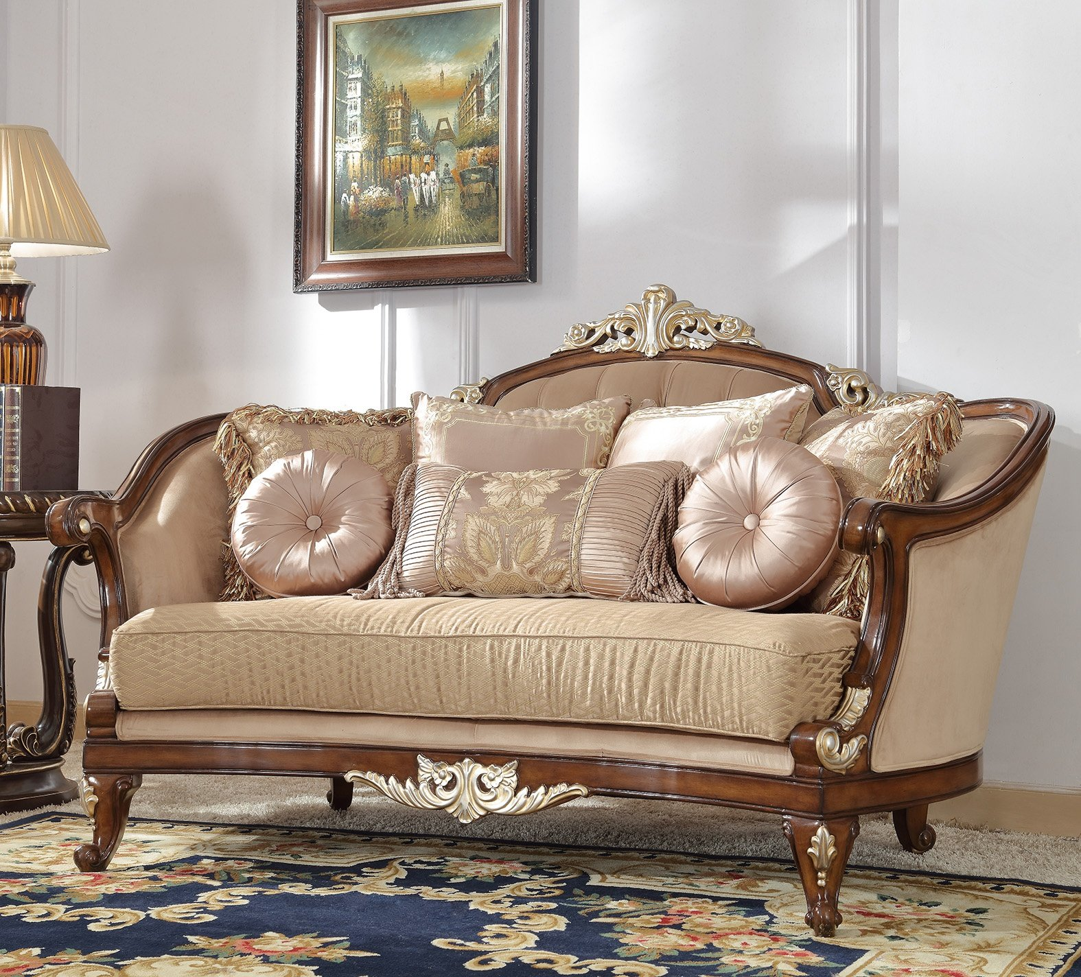 Traditional Loveseat in Brown Fabric Traditional Style Homey Design HD-8320