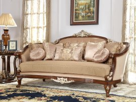 Traditional Sofa in Brown Fabric Traditional Style Homey Design HD-8320