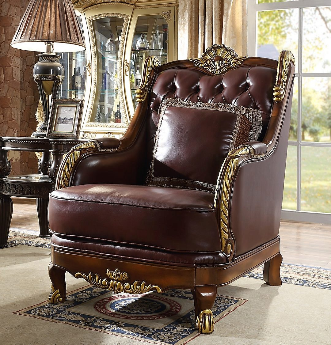 Traditional Chair in Brown Leather Traditional Style Homey Design HD-89