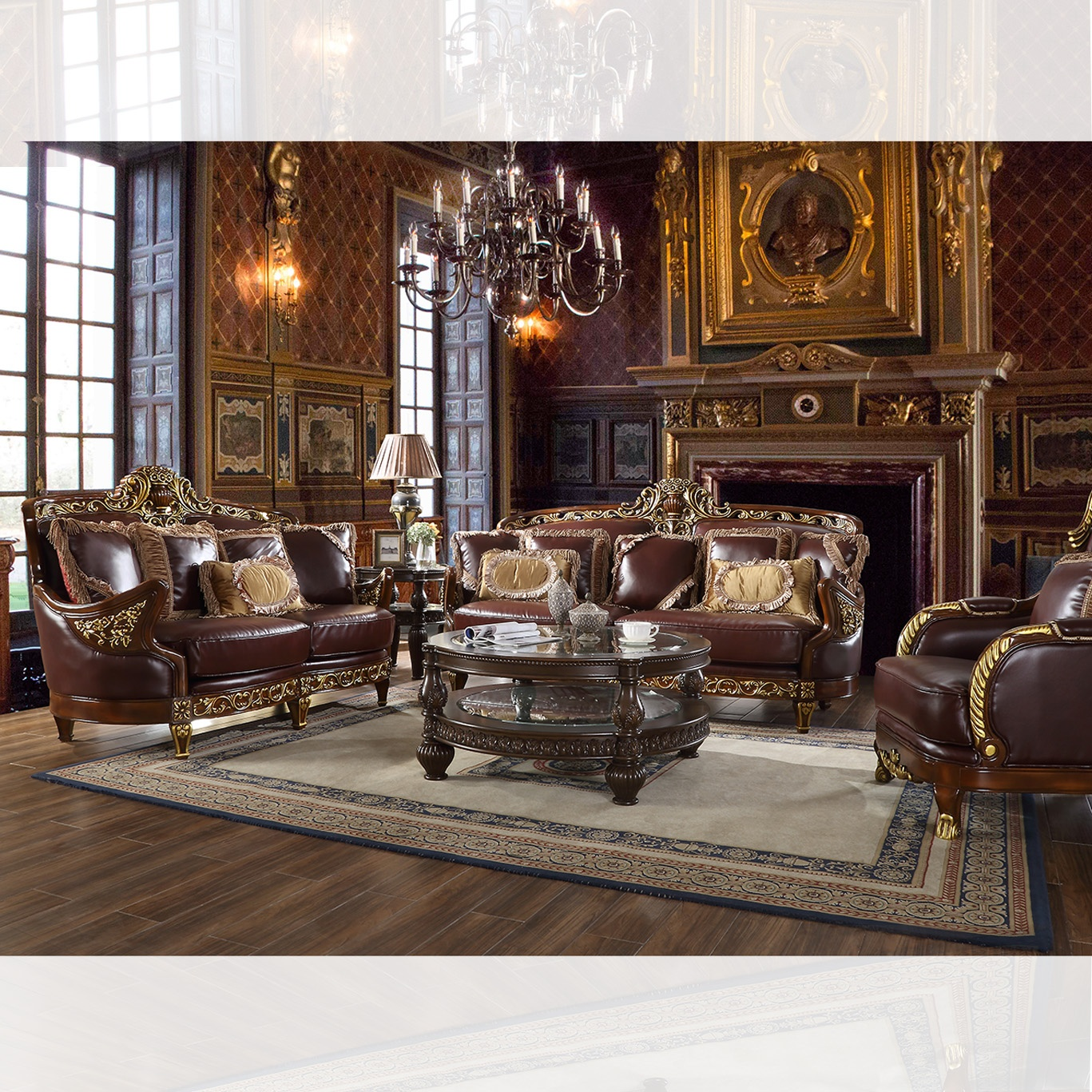 Traditional Living Room Set 3 PCS in Brown Leather Traditional Style Homey Design HD-89