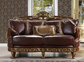 Traditional Loveseat in Brown Leather Traditional Style Homey Design HD-89