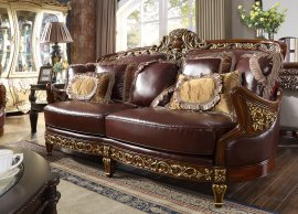 Traditional Sofa in Brown Leather Traditional Style Homey Design HD-89