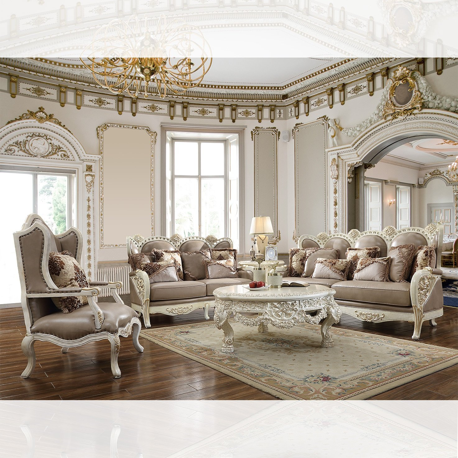 Traditional Living Room Set 3 PCS in Brown Leather Traditional Style Homey Design HD-90