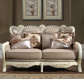 Traditional Loveseat in Brown Leather Traditional Style Homey Design HD-90