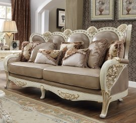 Traditional Sofa in Brown Leather Traditional Style Homey Design HD-90