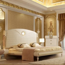 Traditional Eastern King Bed in Beige Leather Traditional Style Homey Design HD-901