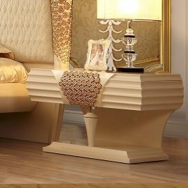 Traditional Nightstand in Beige Wood Traditional Style Homey Design HD-901