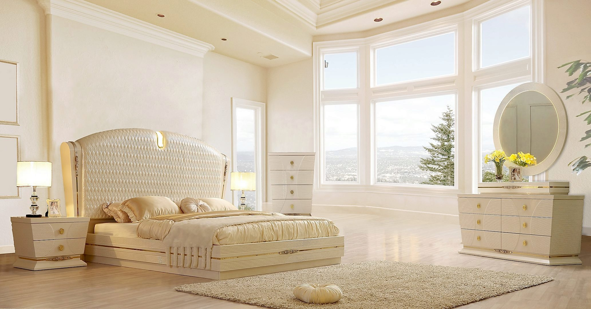 Traditional California King Bedroom Set 5 PCS in White Leather Traditional Style Homey Design HD-914