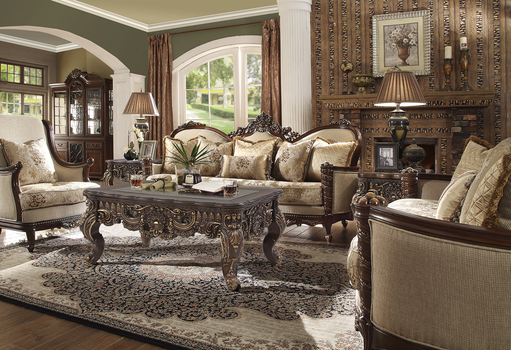 Traditional Living Room Set 3 PCS in Brown Fabric Traditional Style Homey Design HD-92