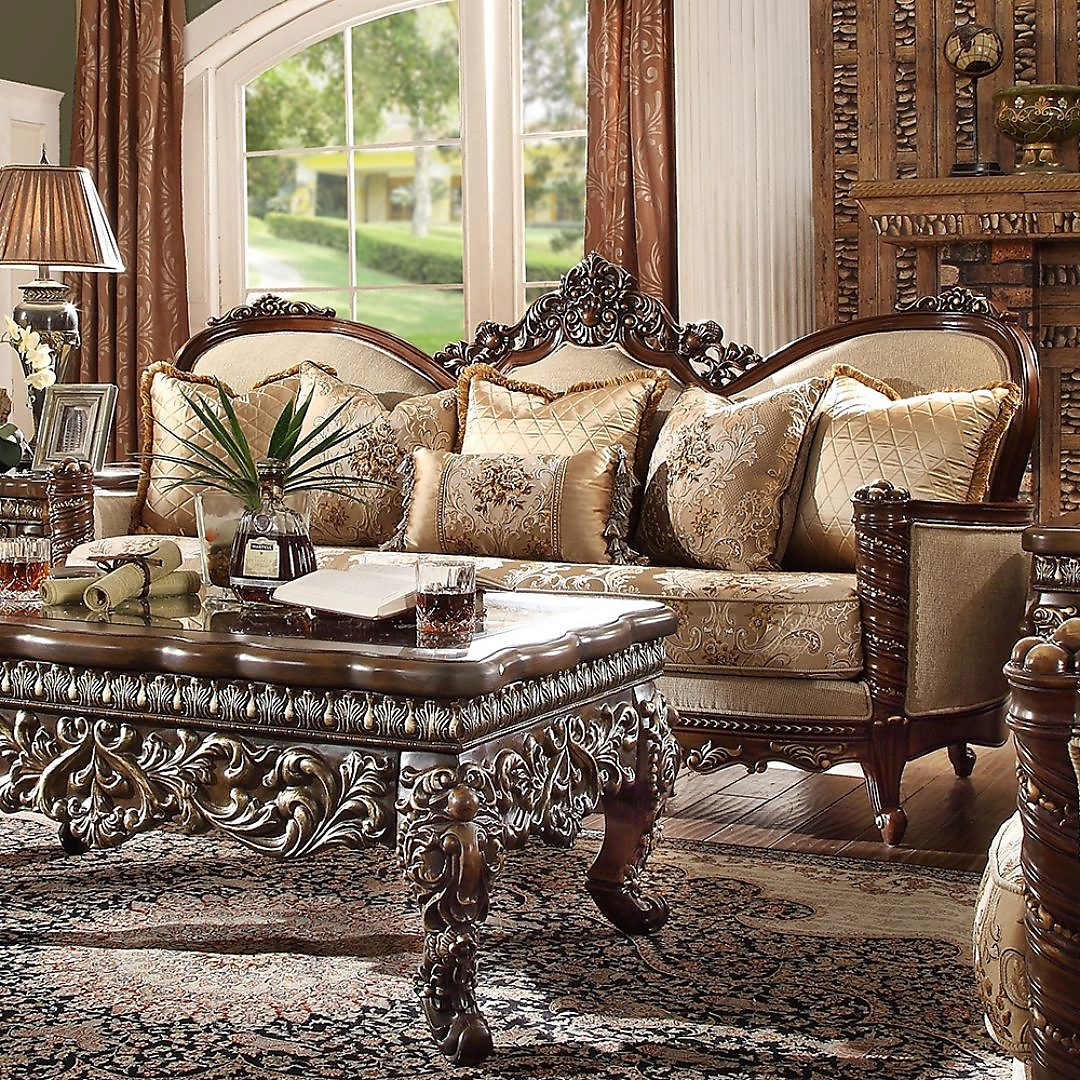 Traditional Sofa in Brown Fabric Traditional Style Homey Design HD-92