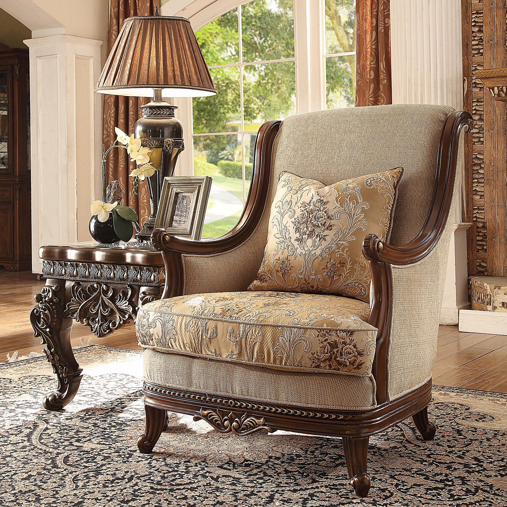 Traditional Chair in Brown Fabric Traditional Style Homey Design HD-92