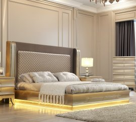 Traditional Eastern King Bed in Gray Leather Traditional Style Homey Design HD-925