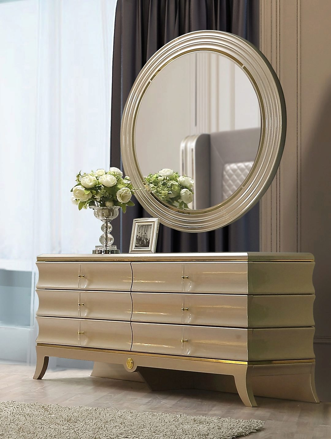 Traditional Dresser in Gray Wood Traditional Style Homey Design HD-925